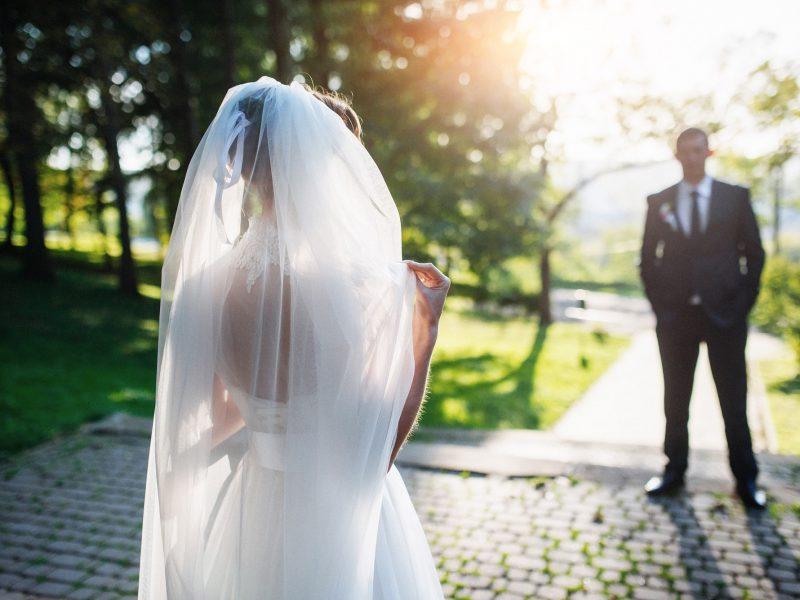 Portrait of wedding couple