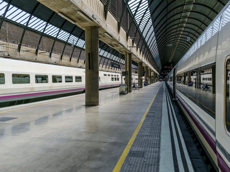 Train in urban train station